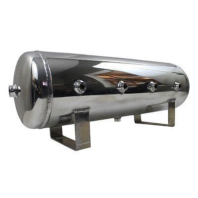 Polished Chrome Air - 4 Gallon Polished Aluminum Chrome Air Tank 7- Port *COSMETIC BLEMISH*