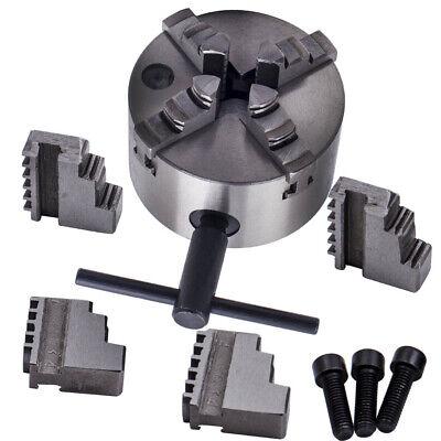 Silver Hardened Steel Self-centering Lathe Chuck 4 Jaw 4 Milling K12-100