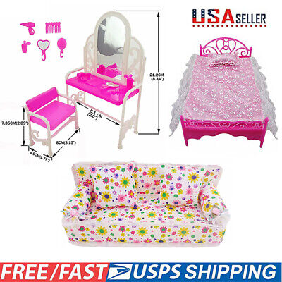 Dolls Furniture Play House Pink Bed Table Chair Set Bedroom for Barbie Toys Kits