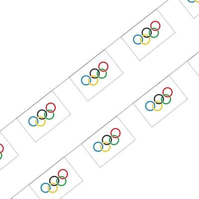 Olympic Buntings Ring Flag 10m World Sport events Celebration](Olympic Rings Decorations)