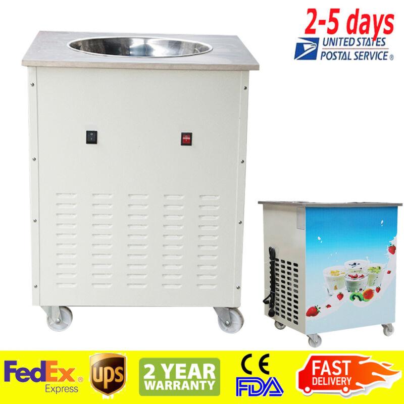 Round Fry Pan Electric Thai Fried Yogurt Rolled Ice Cream Machine 【UPS】