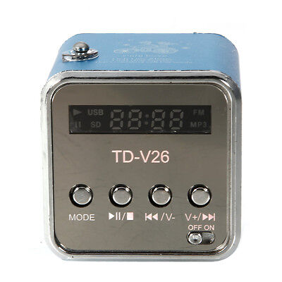 Portable Mini Speaker FM Radio USB 2.0 TF Card MP3 Player Blue