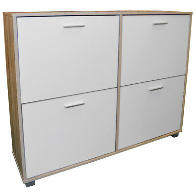 BIGFOOT - XL Large 24 Pair Shoe Storage Cabinet - Light Oak / White ST3662, used for sale  Shipping to Ireland