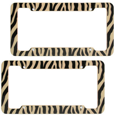 2 PC Set Safari Brown Zebra Tiger Print Plastic License Plate Frames Car Truck