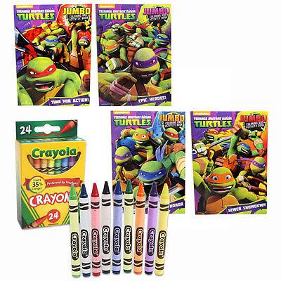 4 Children's Coloring Activity Books + 24 Crayons Ninja Turtles TMNT