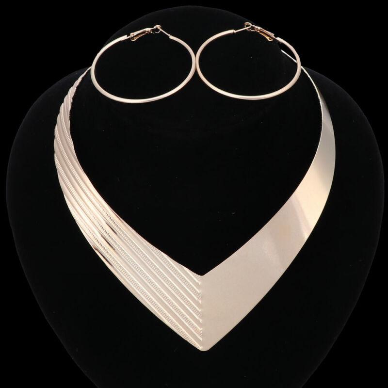 Women Jewelry Set Choker Chunky Statement Bib Pendant Chain Necklace Earring Set