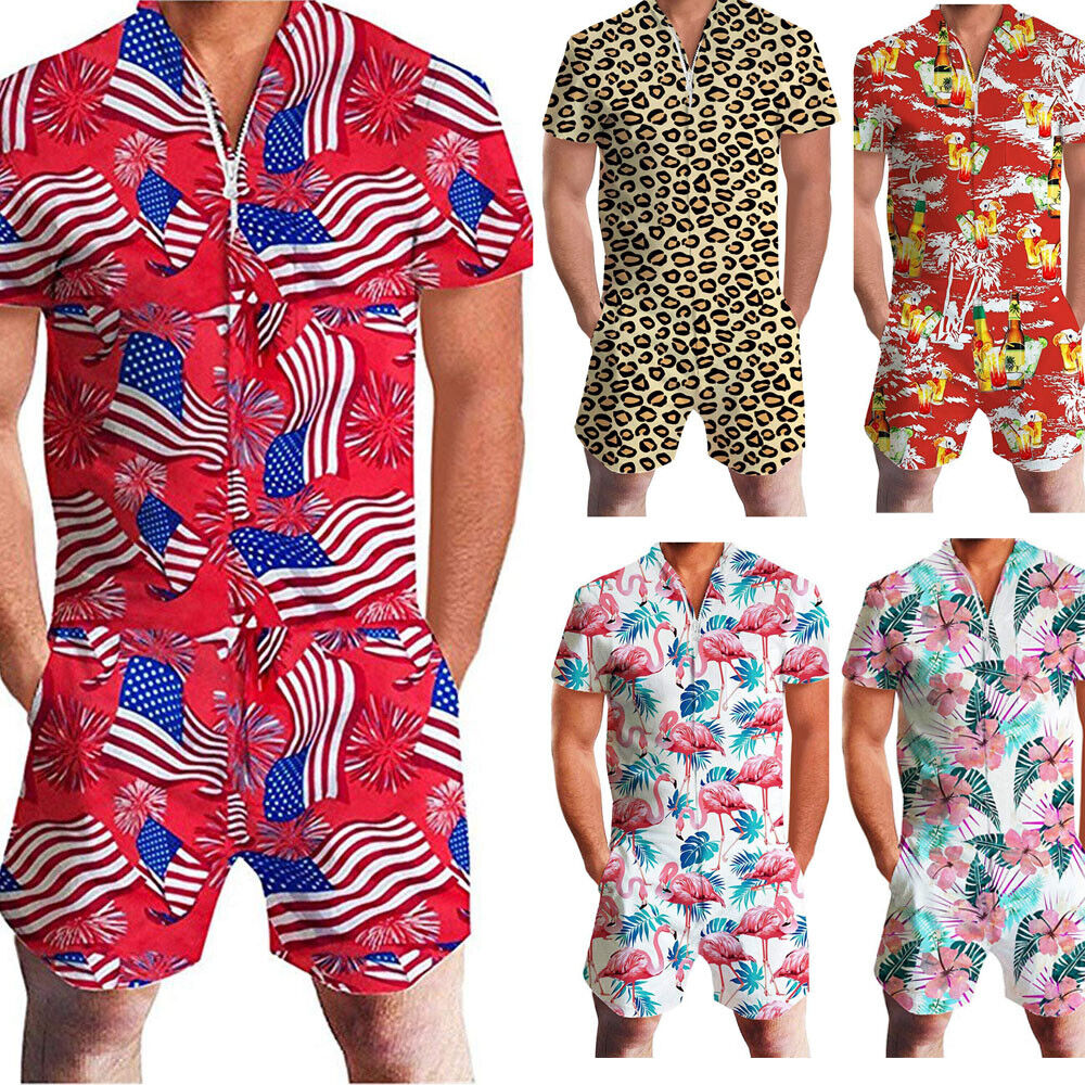 Mens One Piece Short Sleeve Zipper Rompers Short Jumpsuit Overall Pants