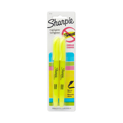 New Sharpie Smear Guard 2 Yellow Pocket Highlighters