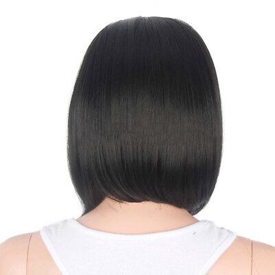 Women Cool Girls Wig Short Black Human Hair Straight Black Hair Natural  AM5X