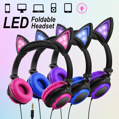 Foldable Cat Ear headset LED Music Lights Sports Headphones Earphone Kids Girls