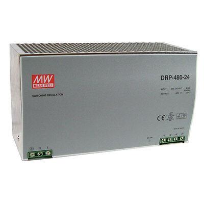 Mean Well Drt-480-24 Ac To Dc Din-rail Power Supply 24 Volt 20 Amp 480 Watt