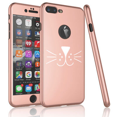 For iPhone 360° Thin Slim Case Cover +Tempered Glass Screen Cat Face (Glasses For Slim Face)