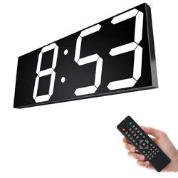 LED Digital Wall Clock Large Temperature Display Remote Control Desk Brightness