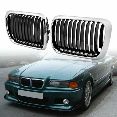 Pair Chrome Front Kidney Grill for BMW E36 3 Series 318i 323i 328i M3 1997-1999 ()