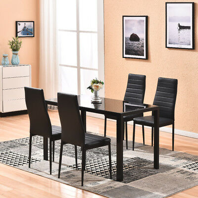 Glass Dinning Table Sets with 4 Leather Chairs Kitchen Modern Furniture Black  ()