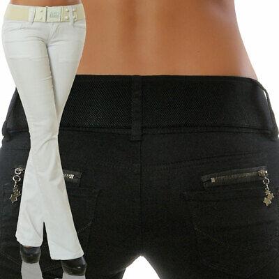 Damen Bootcut Jeans Stretch Hose Hüftjeans Hüfthose Schlaghose mit Gürtel N16000