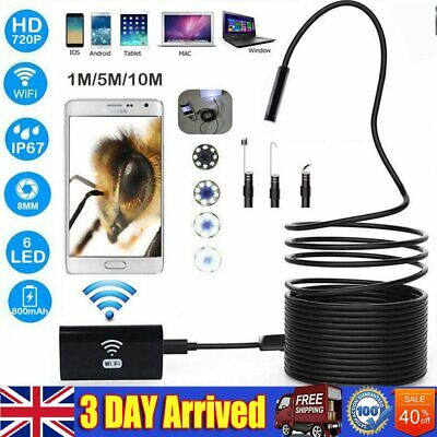 720P HD Wifi Endoscope Borescope Inspection Camera IP67 For Android iOS iphone