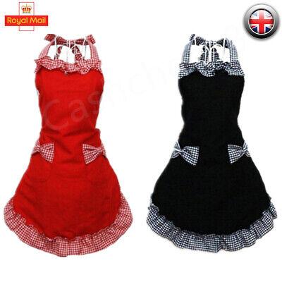Women Cooking Kitchen Restaurant Chef Adjustable Bib Apron Dress with Pocket UK