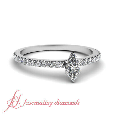 .75 Ct Marquise Cut Natural Diamond Engagement Ring Pave Set SI2-E Color 14K GIA