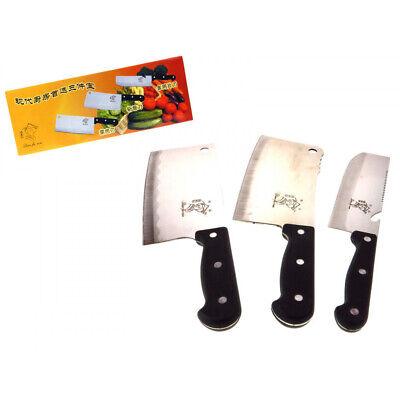 3x Fleischermesser Küchenmesser Set Hackmesser Kochmesser Hackbeil Metzgerbeil online kaufen