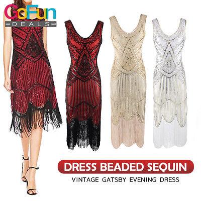 1920er Jahre V Neck Flapper Perlen Pailletten Vintage Gatsby Abendkleid