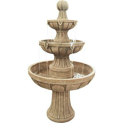 Beige Composite 45-in 3-Tier Electric Pump Napa Valley Outdoor Use Fountain