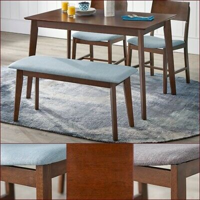 Mid-Century Dining Set Modern Kitchen Nook Blue Gray Fabric Chairs Bench Retro  - Modern Set Bench
