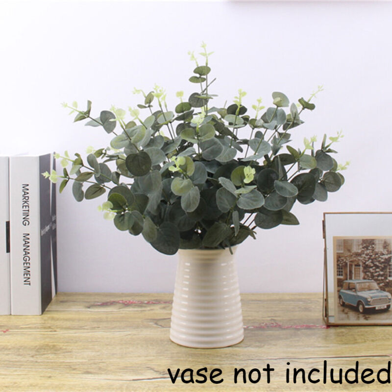 Home Decoration - Artificial Fake Leaf Eucalyptus Green Plant Silk Flowers Nordic Home Decor UK