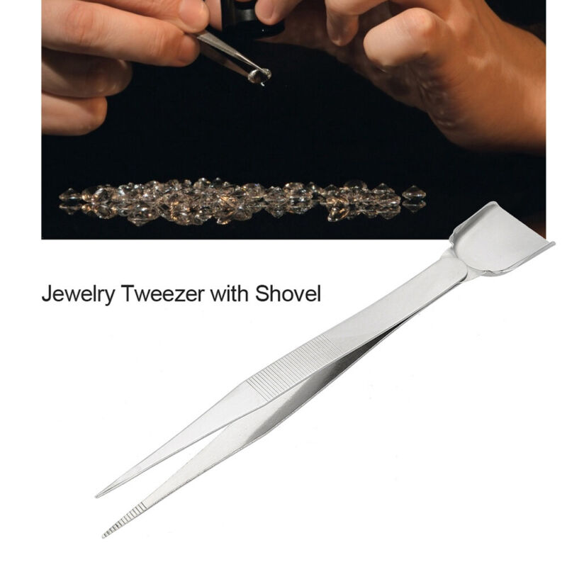 Tweezers for jewellery making hobby craft slide lock pearl shovel #2164