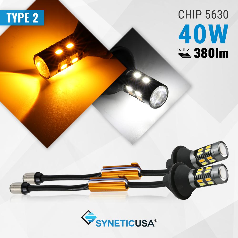7443 Error Free Type-2 Switchback White//Amber All-in-One 42-LED Turn Signal Bulb