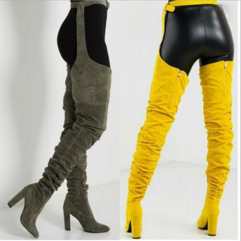 Women Ladies Over The Knee Pointed Belt Thigh High Boots High Heels Long Boots 8