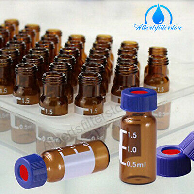 100 X 2ml Amber Glass Lab Vials With Caps 9-425 Thread Top Fit Hplc Autosampler