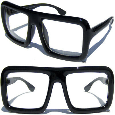 BIG OVERSIZE POLISHED BLACK SQUARE BOLD THICK FRAME Hipster Clear Lens (Thick Hipster Glasses)