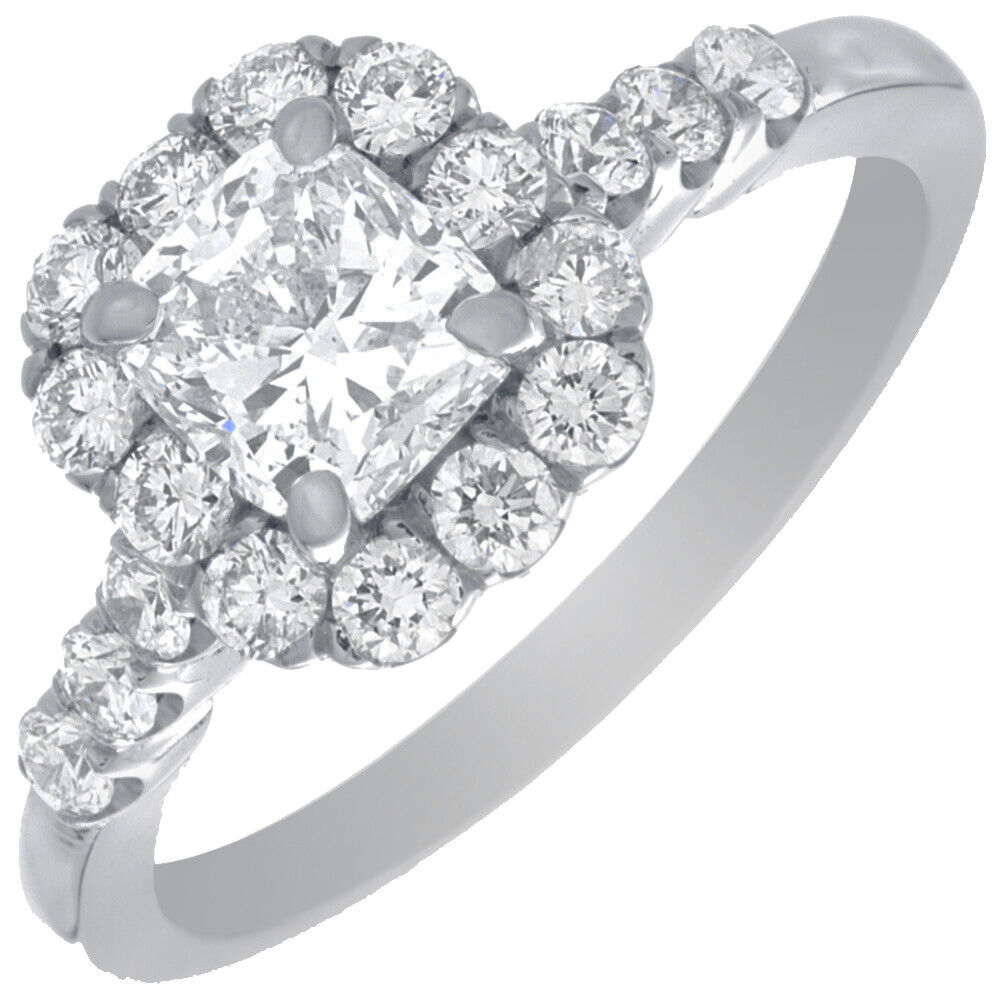 GIA Certified Diamond Engagement Ring 1.74 CTW Natural Cushion 18k White Gold  1