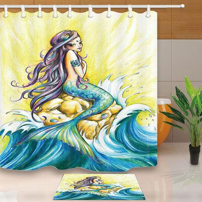 Mermaid Crayon and Ocean Waterproof Bathroom Fabric Shower Curtain Set 71