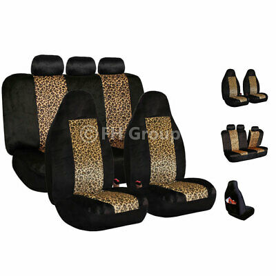 2 Tone Brown Leopard Velour Seat Covers for Car SUV Van Universal -