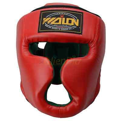 Boxing Training Headgear Head Guard Kick Sparring Gear Face Protection Red