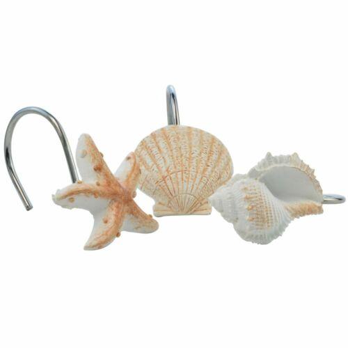 Beach Seashell Shower Curtain Bathroom Decor Accessory Set H