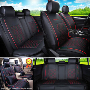 US STOCK PU Leather Black/Red 5-Seat Car SUV L Size Seat Covers Front + Rear Set