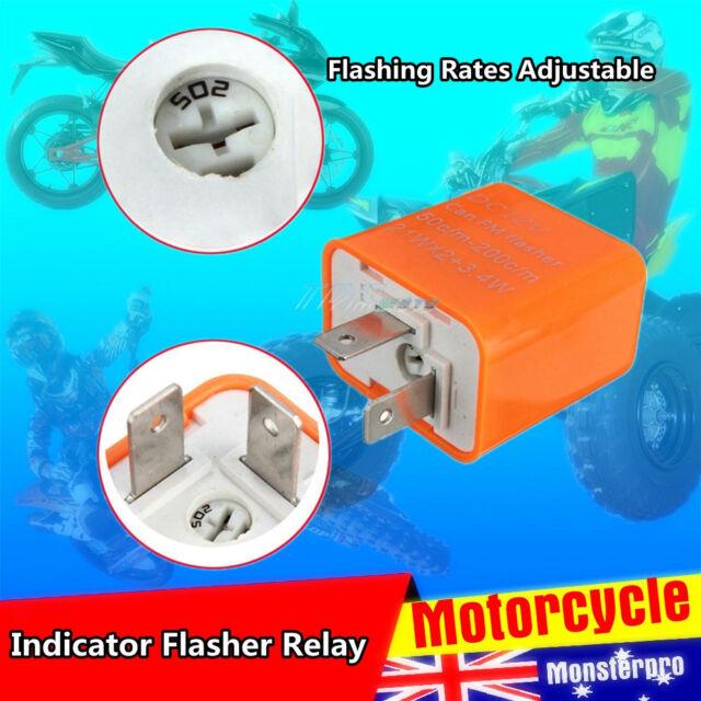 12V 2 Pin LED Flasher Relay Fix Fast Blinker Indicator Motorcycle Turn Signal
