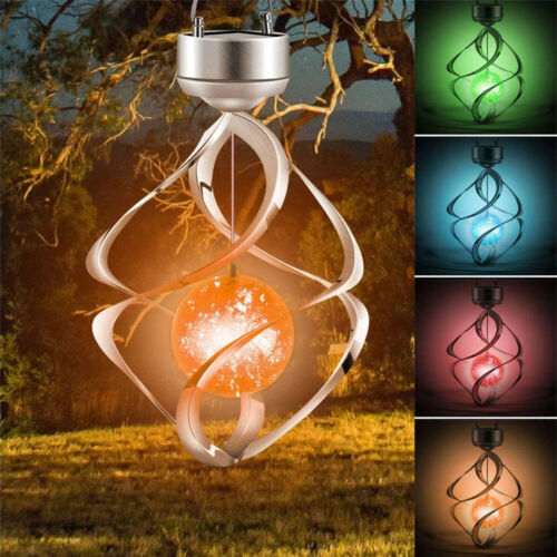 Solar Powered Wind Chimes LED Spiral Spinner Lamp Colour Changing Hanging Light Décor