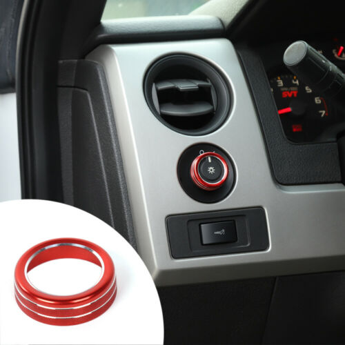 Car Headlight Switch Knob Ring Trim Bezles for Ford F150 2009-14 Red Accessories