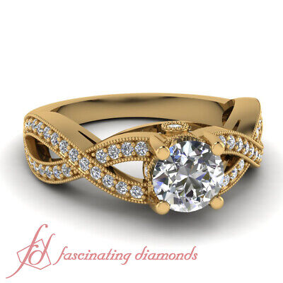 3/4 Carat Yellow Gold Round Cut Diamond Rings Intertwined Pave Set GIA Certified