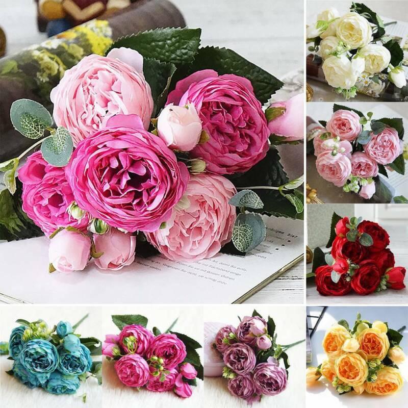 Künstliche Rosen Blume Kunstblumen Blumenstrauß Seidenblumen Hochzeit Party Deko
