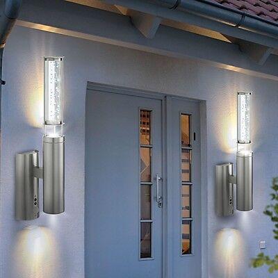 2er Set Außen Garten Wand Leuchte Sensor Edelstahl Luftblasen Terrassen Lampe