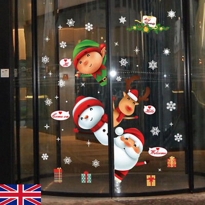 Home Decoration - Large Christmas Snowman Snowflake Santa Wall Decal PVC Window Sticker Art Deco E