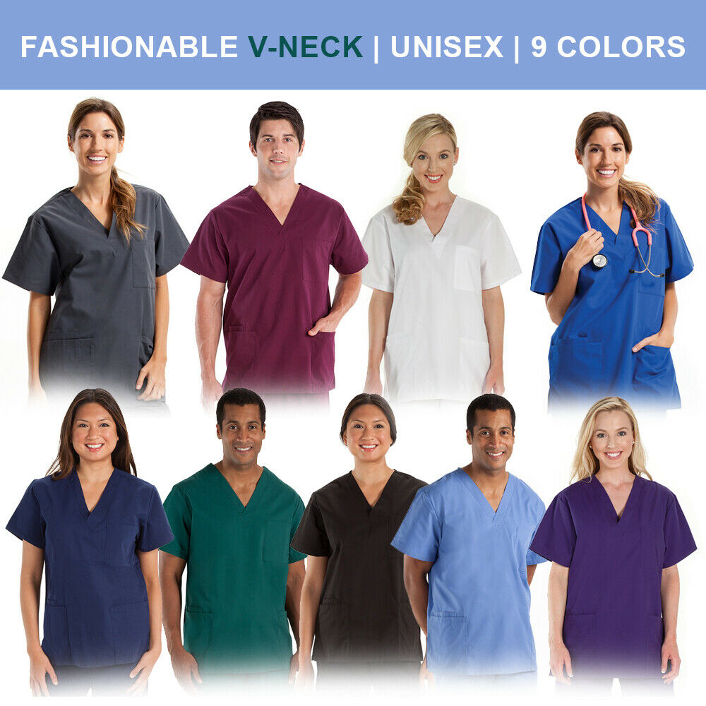 Unisex Men/Women Medical Hospital Nursing Scrub Top V-Neck U