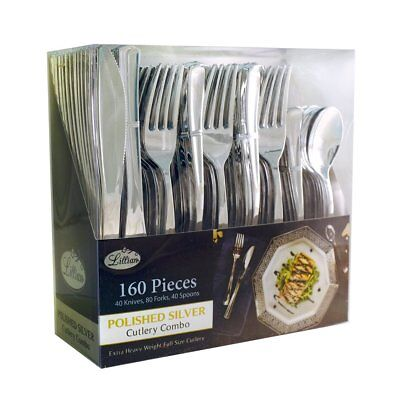 Plastic Cutlery Silverware Extra Heavyweight Disposable Flatware Full Size