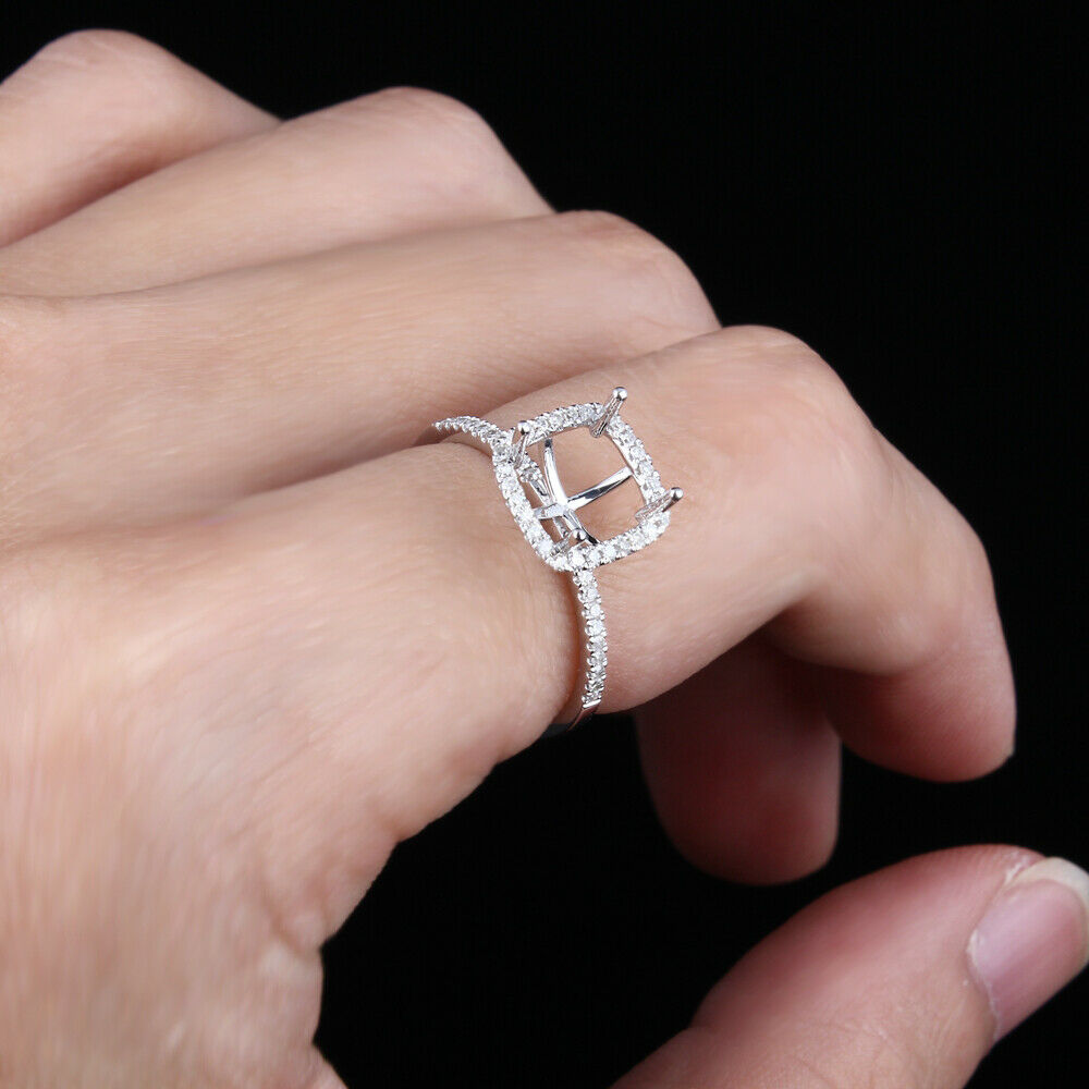Solid 14K White Gold Semi-Mount Diamonds Accents Wedding Ring ...