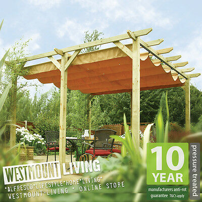 12u002710  x 11u002711  FT (3.9 x 3.6m) 6 Post Wooden Free Standing Garden Pergola w/ Retractable Canopy Awning & NEW GARDEN PATIO WOODEN RETRACTABLE PERGOLA WATERPROOF SUN CANOPY ...